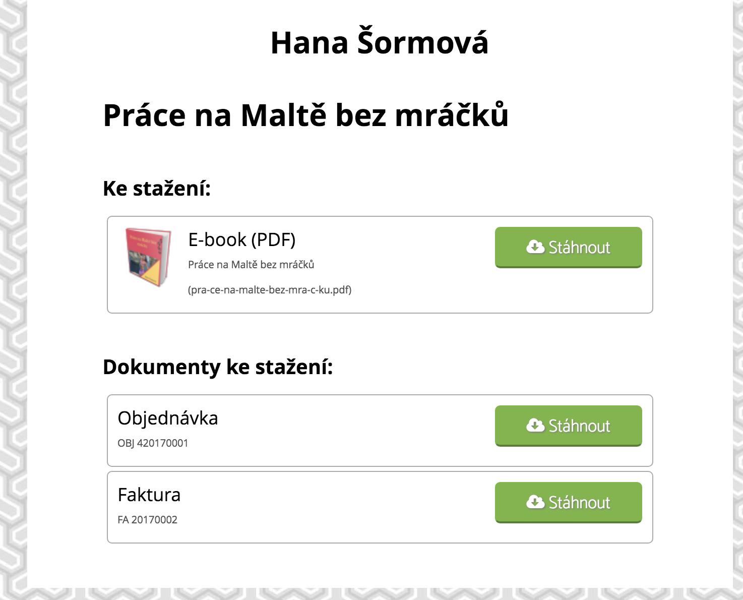 Stránka po prokliku emailu se zakoupeným produktem