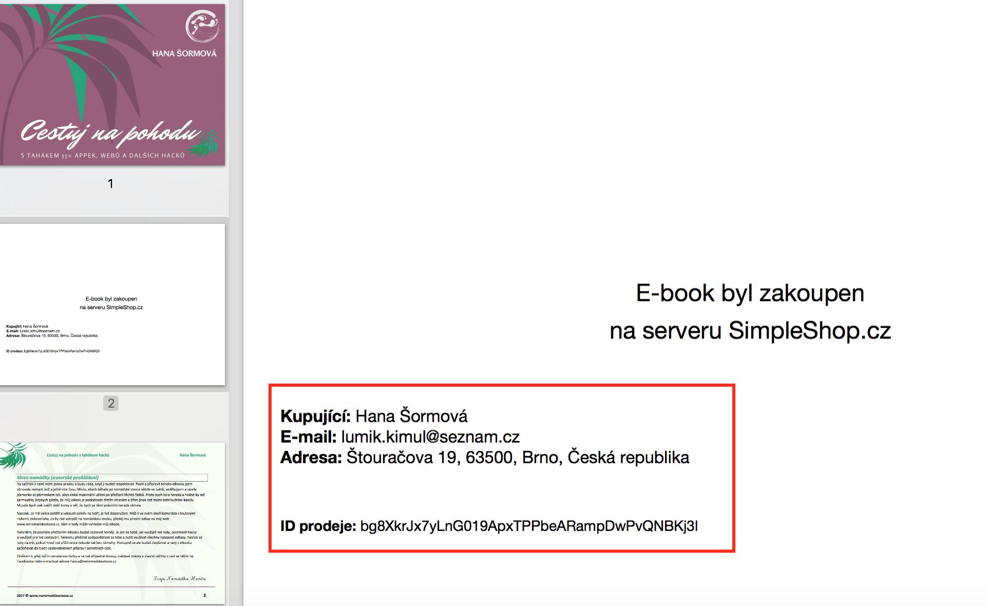 Ukázka jak simpleShop zabezpečuje eBook