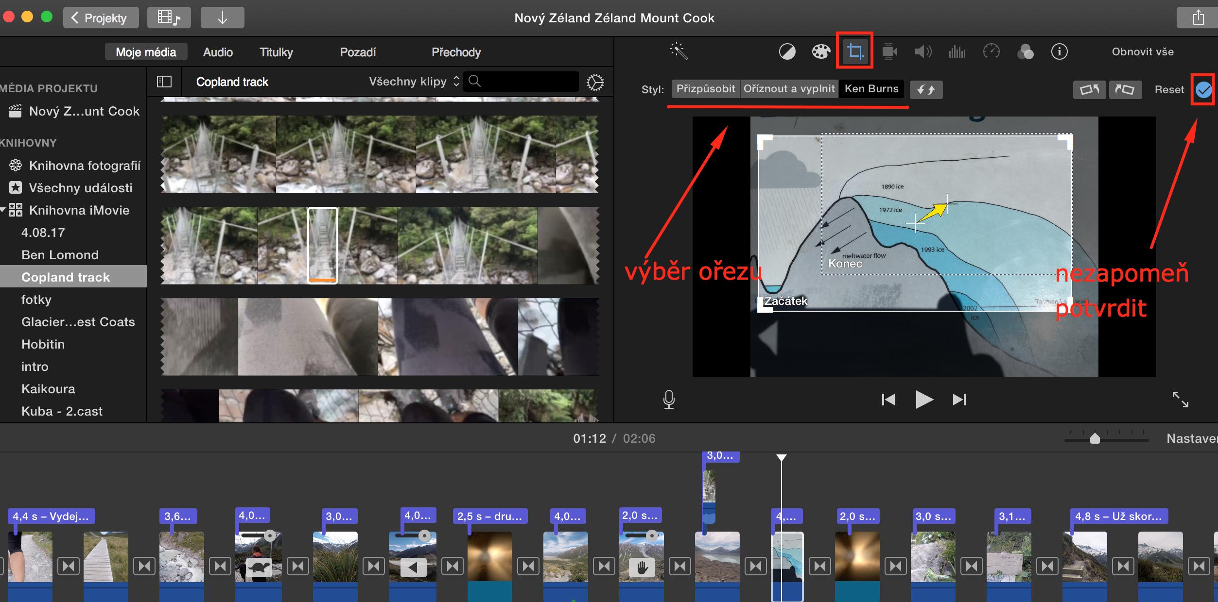Jak ořezat scénu v iMovie