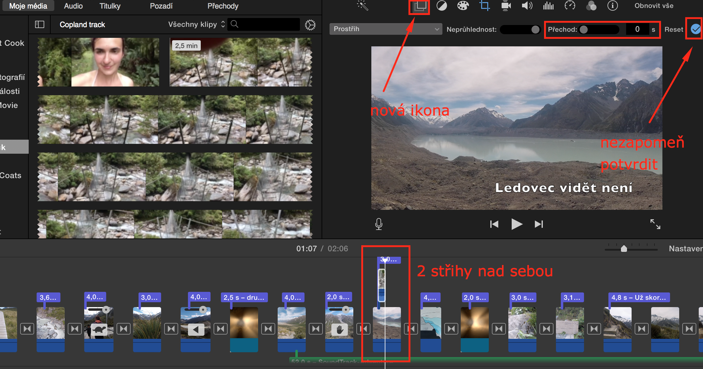 Jak se prolnou dvě scény v iMovie