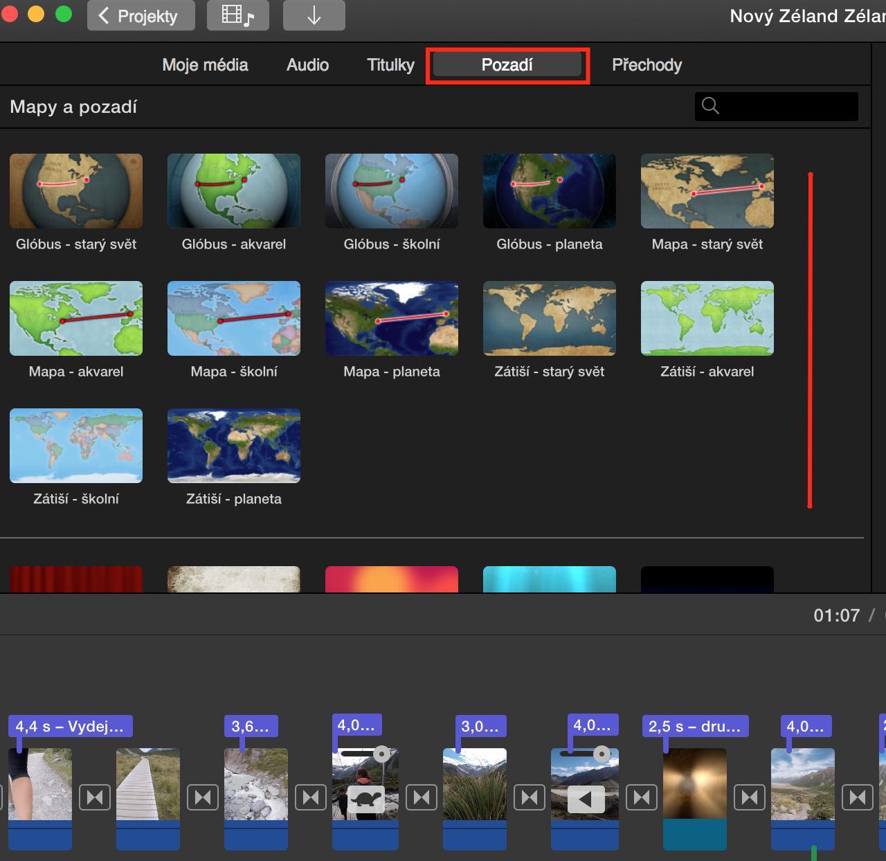 Kde najdu pozadí typu mapa v iMovie