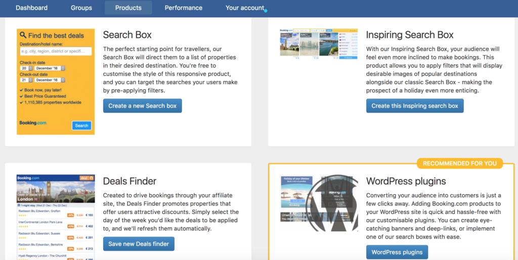 Jak na affiliate marketing krok za krokem - Ukázka různé prezentace produktů na Bookingu